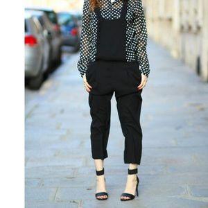 Zara black cross-back pleated jumpsuit/overalls S